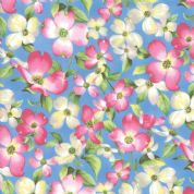 Moda - Sakura Park - 7181 - Pink Cherry Blossom on Blue - 33480-15 - Cotton Fabric